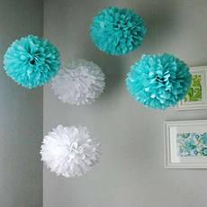 Бумажные помпоны для декора 40см (фиолетовый 0021), фото 3