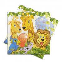 Декоративная салфетка с животными Джунгли упаковка 20 штук