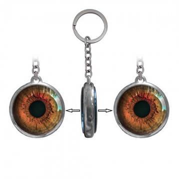 Металлический двусторонний брелок для ключей  Глаз красный, фото 2