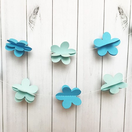 Бумажная гирлянда 3Д для праздника Цветы (голубой)