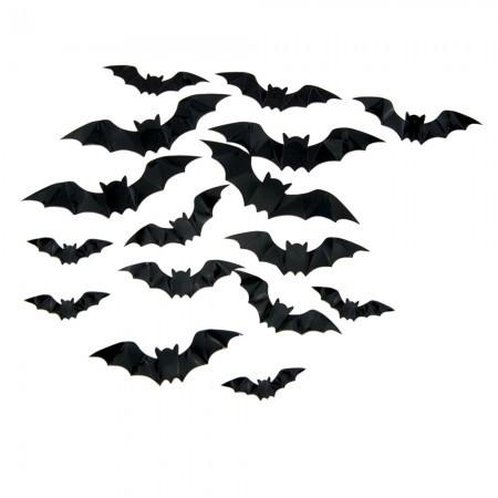 Оригинальный бумажный настенный декор Летучие мыши черные (уп. 16 штук)