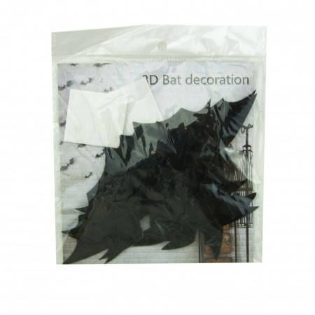 Оригинальный бумажный настенный декор Летучие мыши черные (уп. 16 штук), фото 2