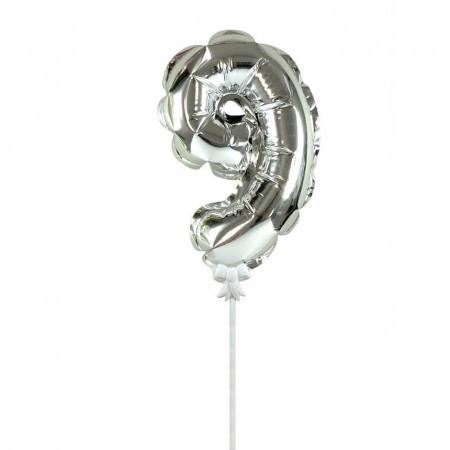 Фольгированный шар цифра в торт серебро 9