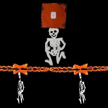 Бумажная гирлянда 3Д для праздника Хэллоуин с подвеской Скелет
