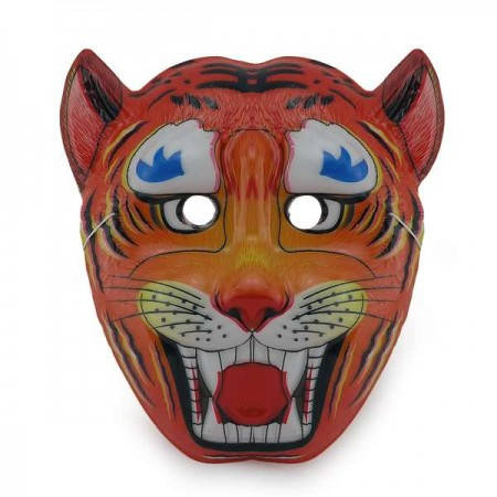 Детская карнавальная маска Тигр (уп. 12шт) пластик, фото 2