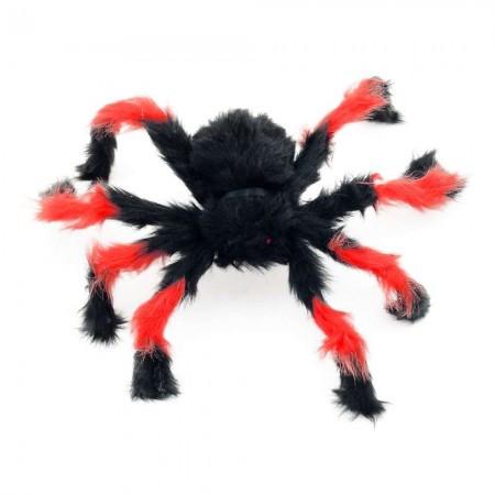 Игрушка меховой паук 50см (черный с красным)