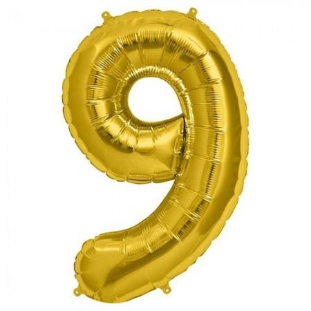 Фольгированный шар цифра (80см) золото 9