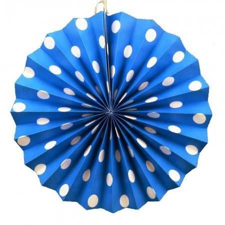 Бумажная гирлянда веерные вертушки (картон) 30см (лазурный 0003), фото 2