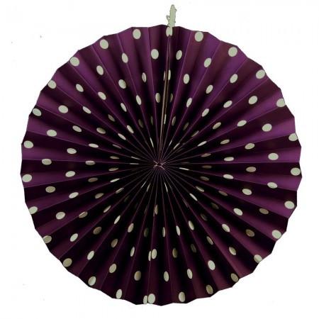 Бумажная гирлянда веерные вертушки (картон) 40см (фиолетовый 0021)