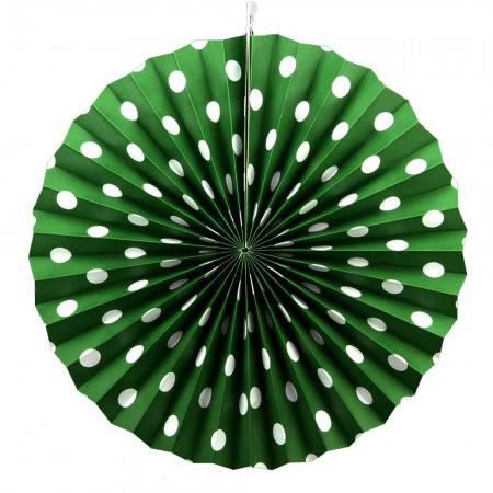 Бумажная гирлянда веерные вертушки (картон) 40см (малахитовый 0016), фото 2