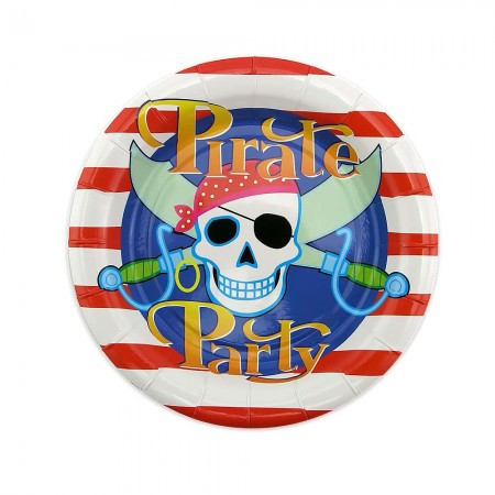 Бумажные одноразовые тарелки для праздника 18см Пираты (уп. 10шт)