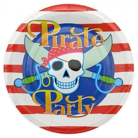 Бумажные одноразовые тарелки для праздника 23см Пираты (уп. 10шт)