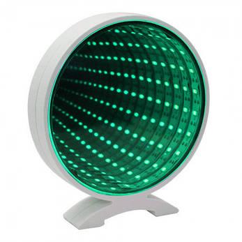 Настольный светодиодный 3 D светильник с эффектом бесконечности с USB Круг (зеленый), фото 2