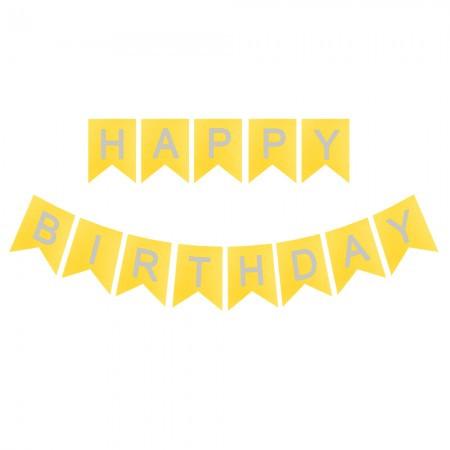Карнавальная гирлянда из флажков Happy Birthday (золото)