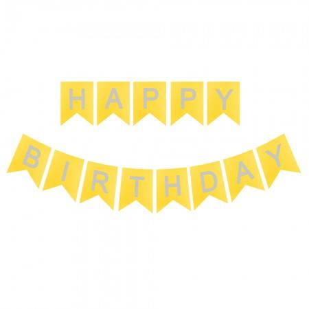 Карнавальная гирлянда из флажков Happy Birthday (золото), фото 2