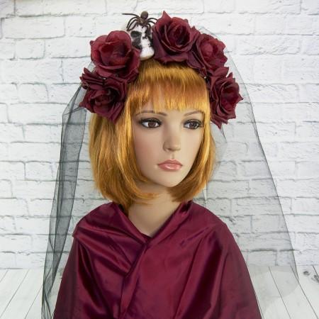 Маскарадный хэллоуинский ободок на голову Ленор с фатой 9135-012