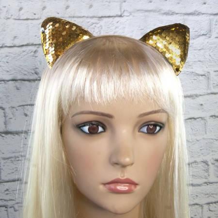 Ободок кошачьи ушки  с паетками золото, фото 2
