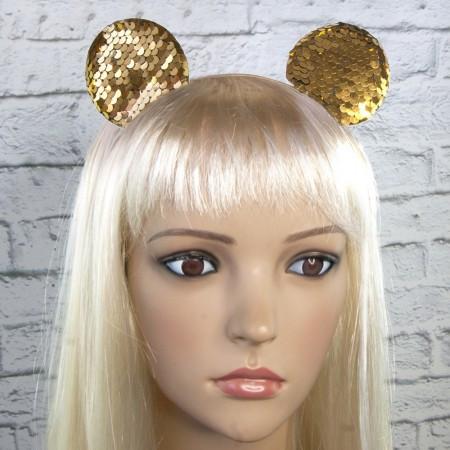 Ободок с ушками микки мауса на голову с паетками золото