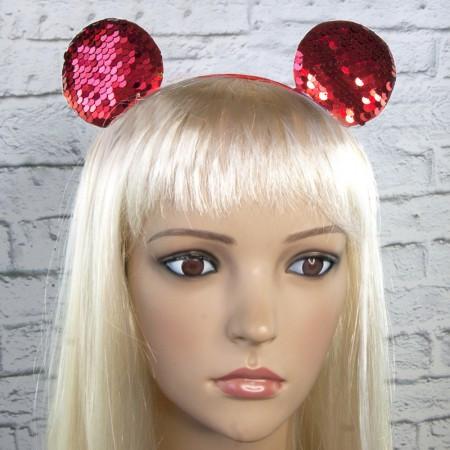 Ободок с ушками микки мауса на голову с паетками красный