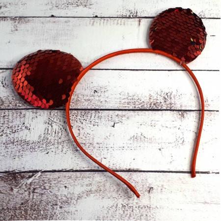 Ободок с ушками микки мауса на голову с паетками красный, фото 2