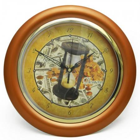 Оригинальные часы на стену с обратным ходом Время-деньги (бронзовый), фото 2