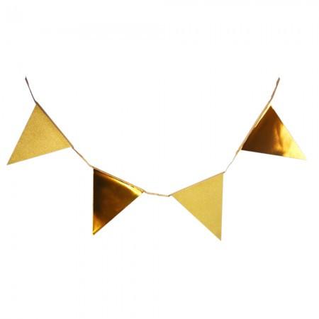 Карнавальная гирлянда из флажков с глиттером (золото)