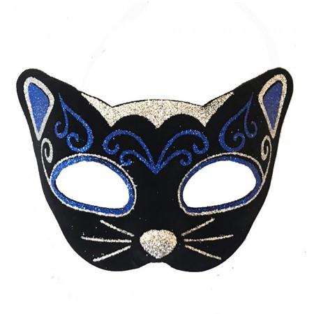 Венецианские карнавальные маски Кошка фетр (черная с синим)