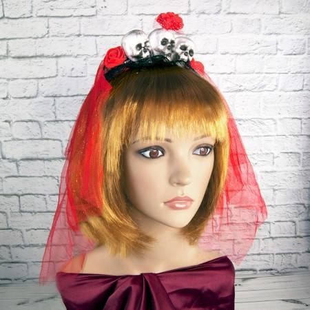 Женские Аксессуары для волос на ободке  Три призрака с фатой (красный), фото 2