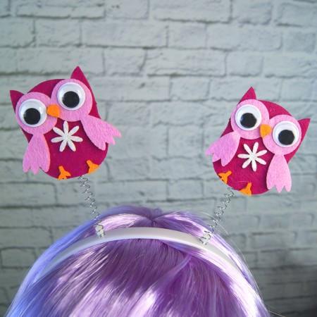 Антенка рожки на голову  Сова (розовые)