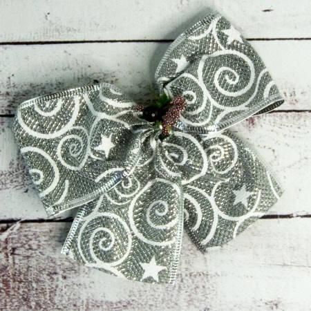 Новогодние украшения банты серебряный уп 5шт 9246, фото 2