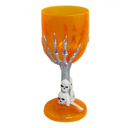 Пластиковый бокал с рукой скелета для шампанского (оранжевый)