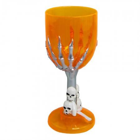 Пластиковый бокал с рукой скелета для шампанского (оранжевый), фото 2