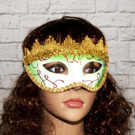 Венецианские карнавальные маски Вероника (белая с зеленым)