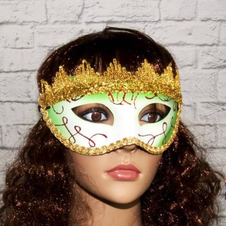 Венецианские карнавальные маски Вероника (белая с зеленым), фото 2