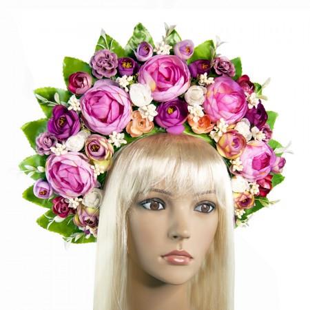 Венок для волос в украинском стиле кокошник Мирослава 9351
