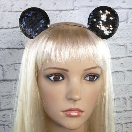 Ободок с ушками микки мауса на голову с паетками черный