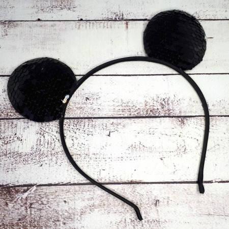 Ободок с ушками микки мауса на голову с паетками черный, фото 2