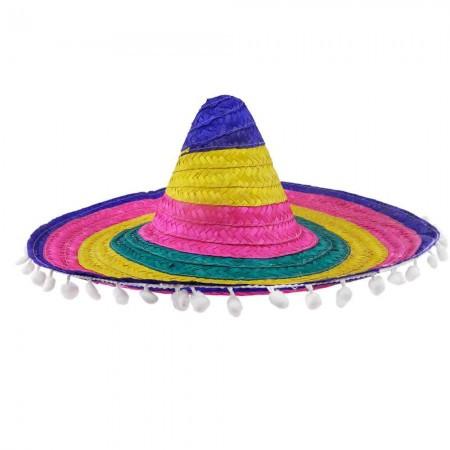 Карнавальное самбреро 55см цветная с кисточками