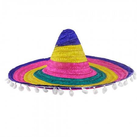 Карнавальное самбреро 55см цветная с кисточками, фото 2