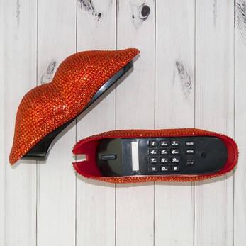 Оригинальный подарочный телефон в форме губ со стразами, фото 2