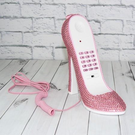 Оригинальный подарочный телефон в форме туфельки со стразами розовый