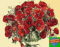 Картина по номерам Красные маки в стеклянной вазе 40*50см KHO1076 Розпис по номерах