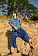Легкая комфортная красивая мужская рубашка цвета джинс., фото 4