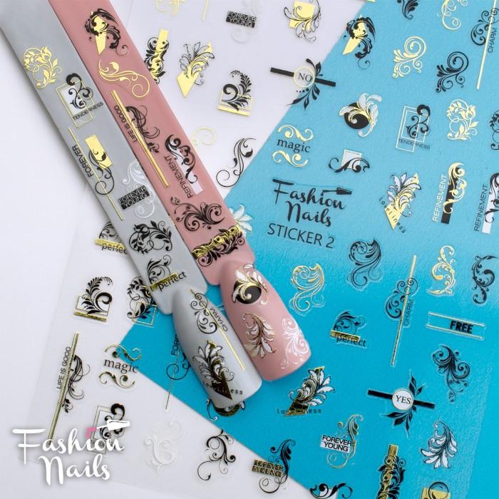 Стікер для нігтів STICKER 2 Fashion Nails Вензелі Візерунки Мережива розм.9*12 см - Самоклеючі наклейки на нігті