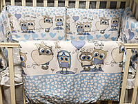 Набор постельного белья в детскую кроватку ( балдахин, подушка, простынь, одеяло, бортики, карман-органайзер )