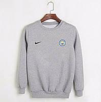Футбольная кофта, свитшот футбольный Манчестер Сити Найк, Manchester city Nike, серый