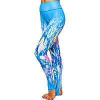 Лосины с лямками для фитнеса и йоги Domino YH58 размер S-L рост 150-180, вес 40-60кг голубой-желтый