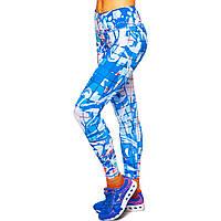 Лосины для фитнеса и йоги с принтом Domino YH80 размер S-L рост 150-180, вес 40-60кг голубой-белый