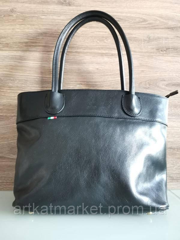 Vera Pelle made in Italy Супер женская кожаная сумка черная дорожная