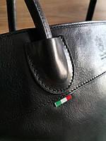 Vera Pelle made in Italy Супер женская кожаная сумка черная дорожная, фото 3